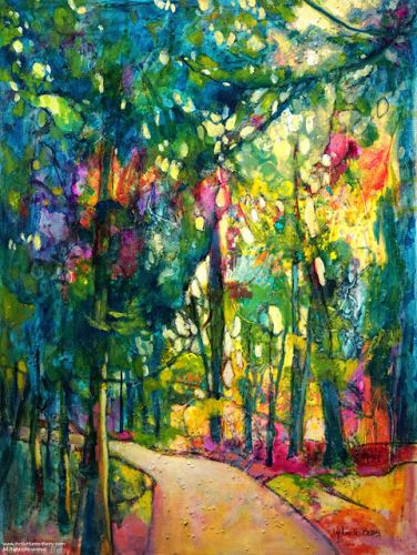 """Colorful Contemporary Landscape Painting, Abstract Landscape, Tall Trees """"Standing Tall"""" by Passionate Purposeful Painter Holly Hunter Berry"""
