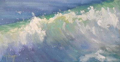 Ocean Painting, Caribbean Wave, Seascape Oil Painting, Daily Painting, Small Oil Painting