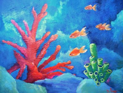 Coral Reef Painting, Key Largo Painting, Daily Painting, Large Oil Painting, 20x24x1.5