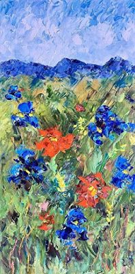 "Original Palette Knife Flower Landscape Painting ""Flowers on the Trail II"" by Colorado Impressionist Judith Babcock"