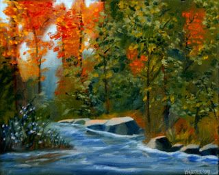 Mark Webster - Autumn Forest Creek Landscape Oil Painting