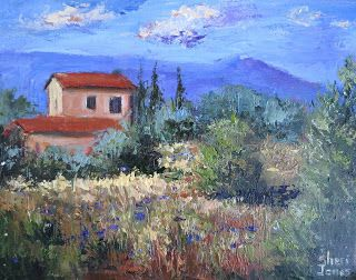 French Villa, Contemporary Landscape Painting by Sheri Jones