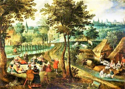 1500s Spring Sheep Washing by Peasants - A Spectator Sport & Picnic for some Elites