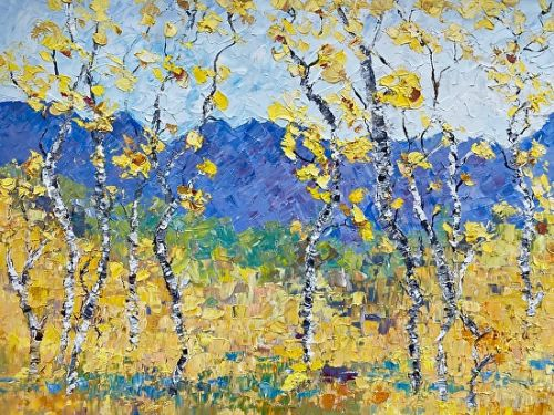 "Aspen Tree Painting, Impressionist Landscape Painting ""Colorful Memories"" by Colorado Impressionist Judith Babcock"