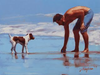 """""""Coaching"""" - Series Painting of Dogs & Owners on the Beach"""