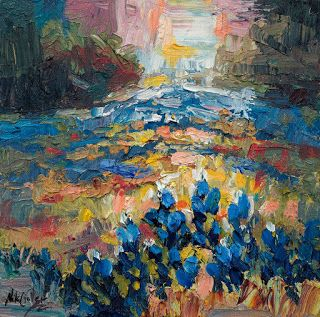Abstract Bluebonnet Painting by Palette Knife Painter Niki Gulley