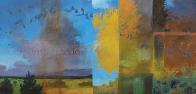 'the freedoms of autumn' contemporary abstract landscape painting by dawn chandler