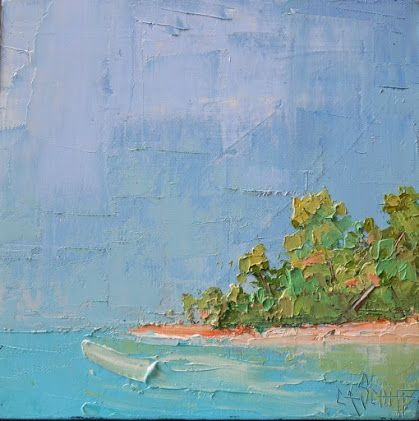 Tropical Island Palette Knife Oil Painting, 10x10x3