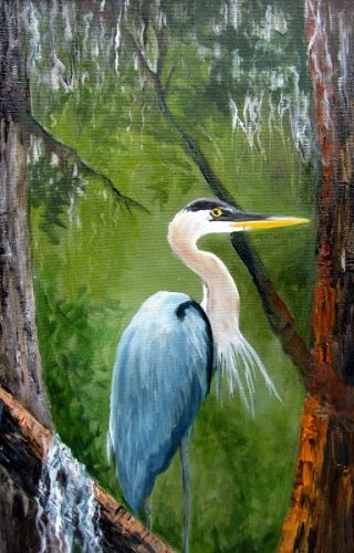 Blue Heron, bird, oil painting, Barbara Haviland-Texas Artist