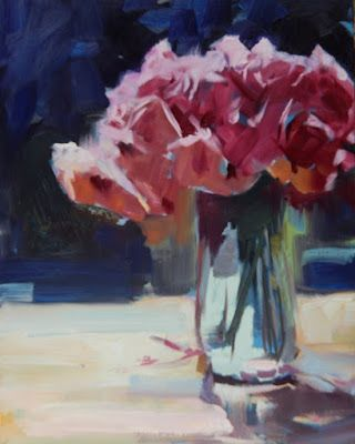 """Vase of Roses"" original flower, still life painting by Robin Weiss"