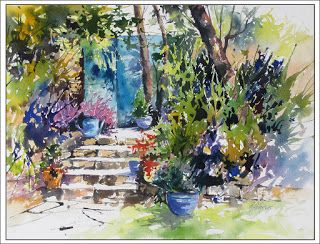 Garden Tranquility..Watercolor..Texas Artist Rae Andrews