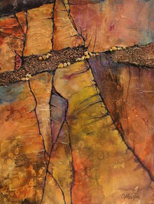 "Mixed media geologic abstract, ""Hidden Passage"" © Carol Nelson Fine Art"