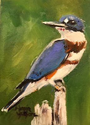 Norma Wilson Original Oil Kingfisher Bird Avian Wildlife Artist Painting Art