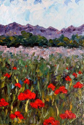 "Palette Knife Poppy Landscape Painting ""Hopping Through The Poppies"" by Colorado Impressionist Judith Babcock"