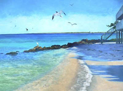 """Oil Painting on Canvas, """"Beach at Oro Pesos,"""" 18x24 Seascape"""