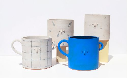 Miniature Faces Add Three-Dimensional Personality to Ceramic Vessels and Tableware