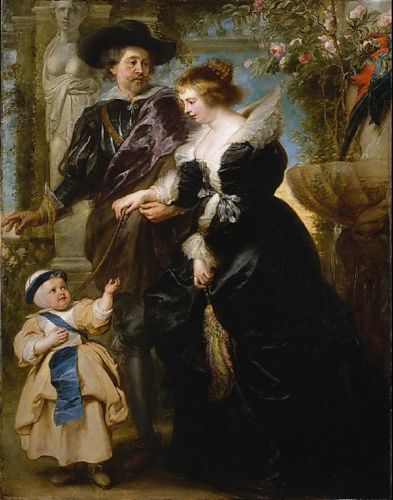Artist & His Family on Garden Terrace with Statue & Roses