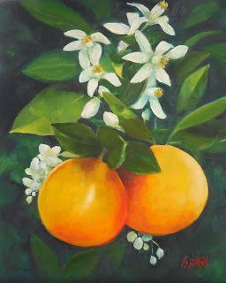 "Oil Painting on Canvas Panel, ""Orange Blossom Special,"" 8x10"