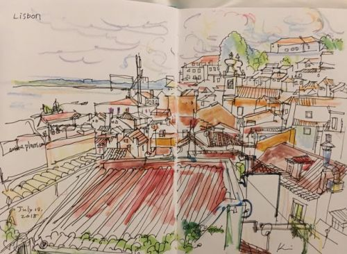 Sketch travel to Lisbon, Sintra, and Porto, Portugal