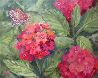 Pollen Seeker-Butterfly, New Contemporary Landscape Painting by Sheri Jones