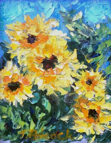 "Palette Knife Flower Art Painting ""Sunflowers for You"" by Colorado Impressionist Judith Babcock"