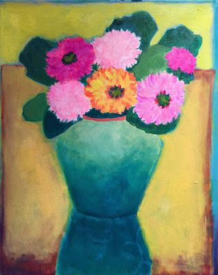 "Bold Colorful Expressionist Still Life Art Painting, Flowers, Floral Painting ""Las Flores"" by Santa Fe Artist Annie O'Brien Gonzales"