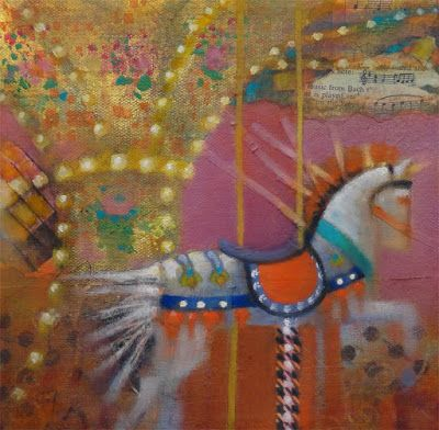 "Contemporary Colorful Painting ""Horse & Carousel Abstract 6"" by Illinois Artist Marilyn Weisberg"