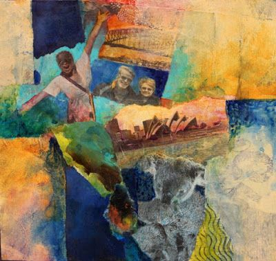 "Mixed media collage painting, ""Down Under"" © Carol Nelson Fine Art"