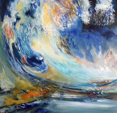 """Abstract Seascape Painting, Contemporary Art Painting """"Phoenix"""" by International Abstract Artist Arrachme"""