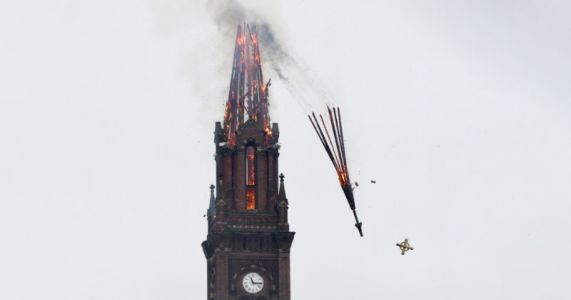 Photographer Captures Striking Shot of Flaming Church Steeple Collapsing