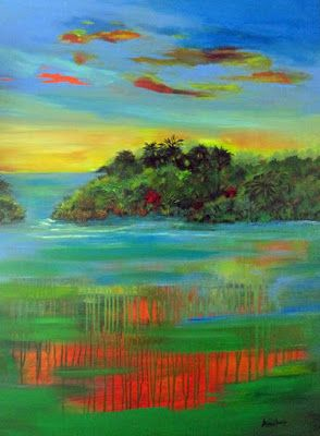 """Original Contemporary Abstract Seascape Painting """"Sultry Sunset"""" by International Abstract Realism Artist Arrachme"""