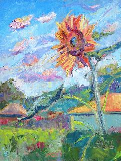 Stand Up Sunflower, New Contemporary Landscape Painting by Sheri Jones