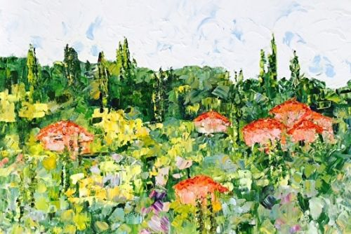 "Original Palette Knife Tuscan Landscape Painting ""Cortona,Italy"" by Colorado Impressionist Judith Babcock,Boarding House Studio Galleries,Denver"