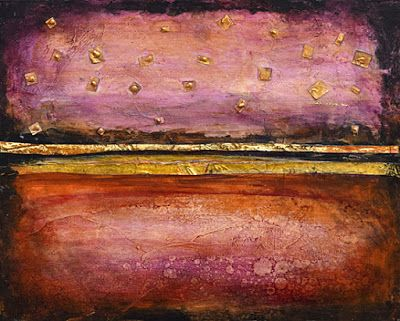 "Sunset, Contemporary Landscape Art, Abstract Mixed Media Painting ""Partners"" by Santa Fe Contemporary Artist Sandra Duran Wilson"