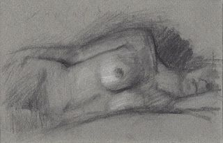"""Repose"" female nude model reclining"