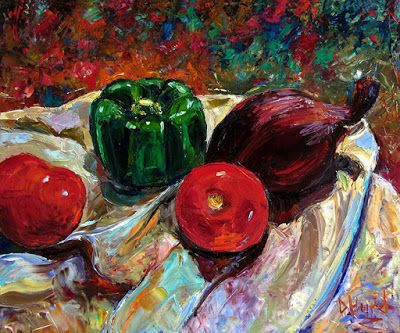 "Still Life Impressionist Painting Art on Canvas ""Onion and Friends"" By Debra Hurd"