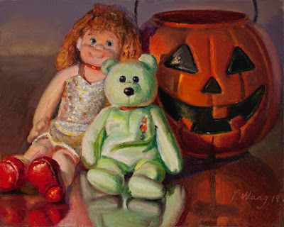 Stuffed teddy bear doll pumpkin bucket Halloween still life oil painting original