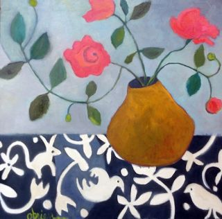 "Contemporary Abstract Still Life Flower Art Painting ""Sentimental Reasons"" by Santa Fe Artist Annie O'Brien Gonzales"