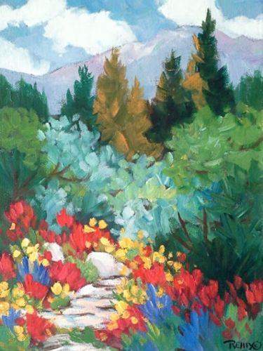 "Contemporary Colorado Wildflower Painting ""Scarlet In the Sun"" by Colorado Artist Laura Reilly"