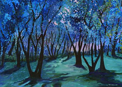 """Contemporary Landscape Painting, Trees, Forest, Blue Art """"Follow the Music"""" by Contemporary Artist Liz Thoresen"""