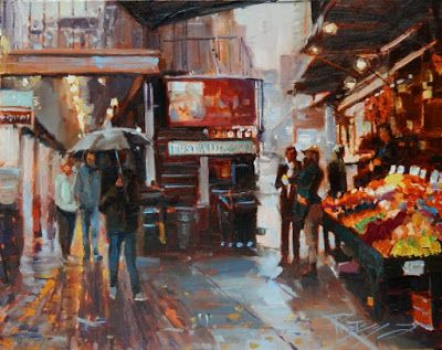 """Market Slice"" Seattle city oil painting by Robin Weiss"