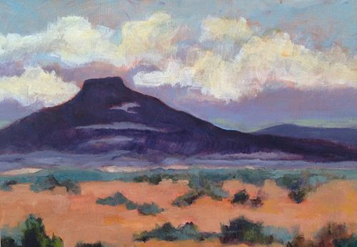 "Ghost Ranch, Expressionist New Mexico Landscape Painting ""PEDERNAL EVENING"" by Santa Fe Artist Annie O'Brien Gonzales"