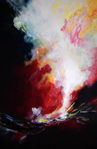 "Contemporary Landscape, Abstract Painting ""Precipice of Life"" by International Abstract Realism Artist Arrachme"