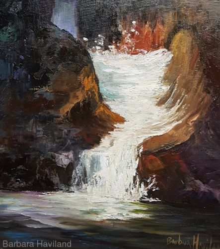 Lower Chasm Waterfall, landscape,oils,canvas,Barbara Haviland