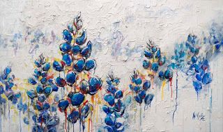 """New """"Dripping Blues"""" Textured Poppy Painting by Niki Gulley"""