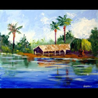 Mark Webster - Island Hut Landscape Acrylic Painting