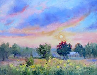 Sunflower Field at Sunrise, New Contemporary Landscape Painting by Sheri Jones