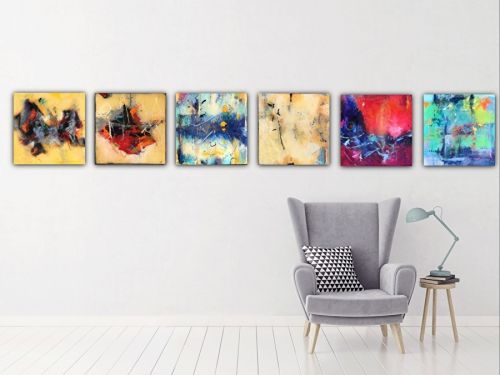 """Contemporary Abstract Expressionist Painting """"THE SERIES: THE REVOLUTION"""" by Abstract Artist Pamela Fowler Lordi"""