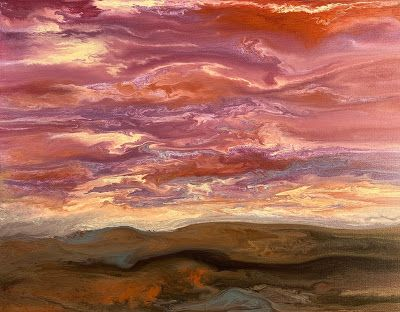 """Abstract Landscape, Sunset Painting, Contemporary Landscape """"Harmonious Reflections IV"""" by International Contemporary Artist Kimberly Conrad"""