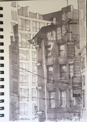 "Day 157 ""Wendell Street"" ink and markers 9 x 6"